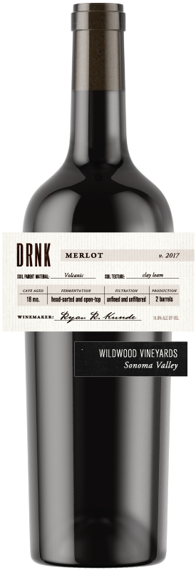 DRNK Wines 2017 Merlot, Wildwood Vineyards, Sonoma Valley