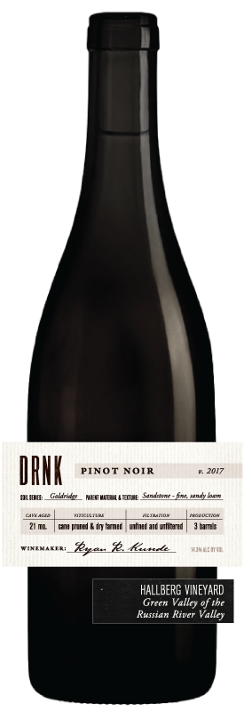 DRNK Wines 2017 Pinot Noir, Hallberg Vineyard, Green Valley of the Russian River Valley